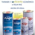 Thinner Ecoeficiente Econômico e Água Raz disponíveis em embalagens de 450ml