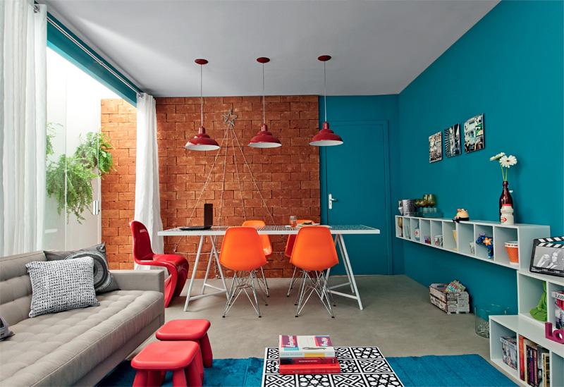 Sala De Estar Com Uma Parede Azul ~ Criatividade e Cores  Blog da AnjoBlog da Anjo